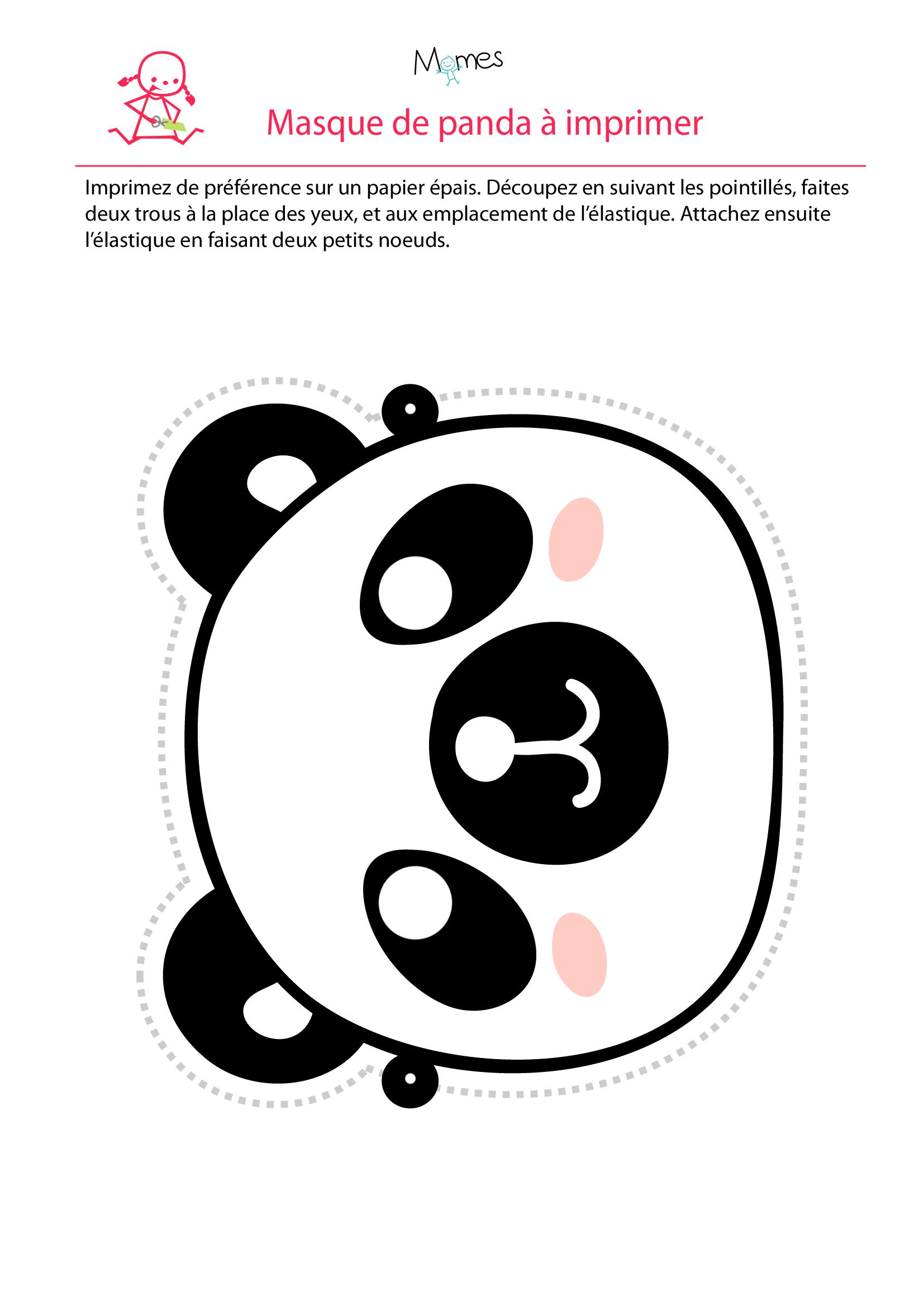 Masque de panda à imprimer