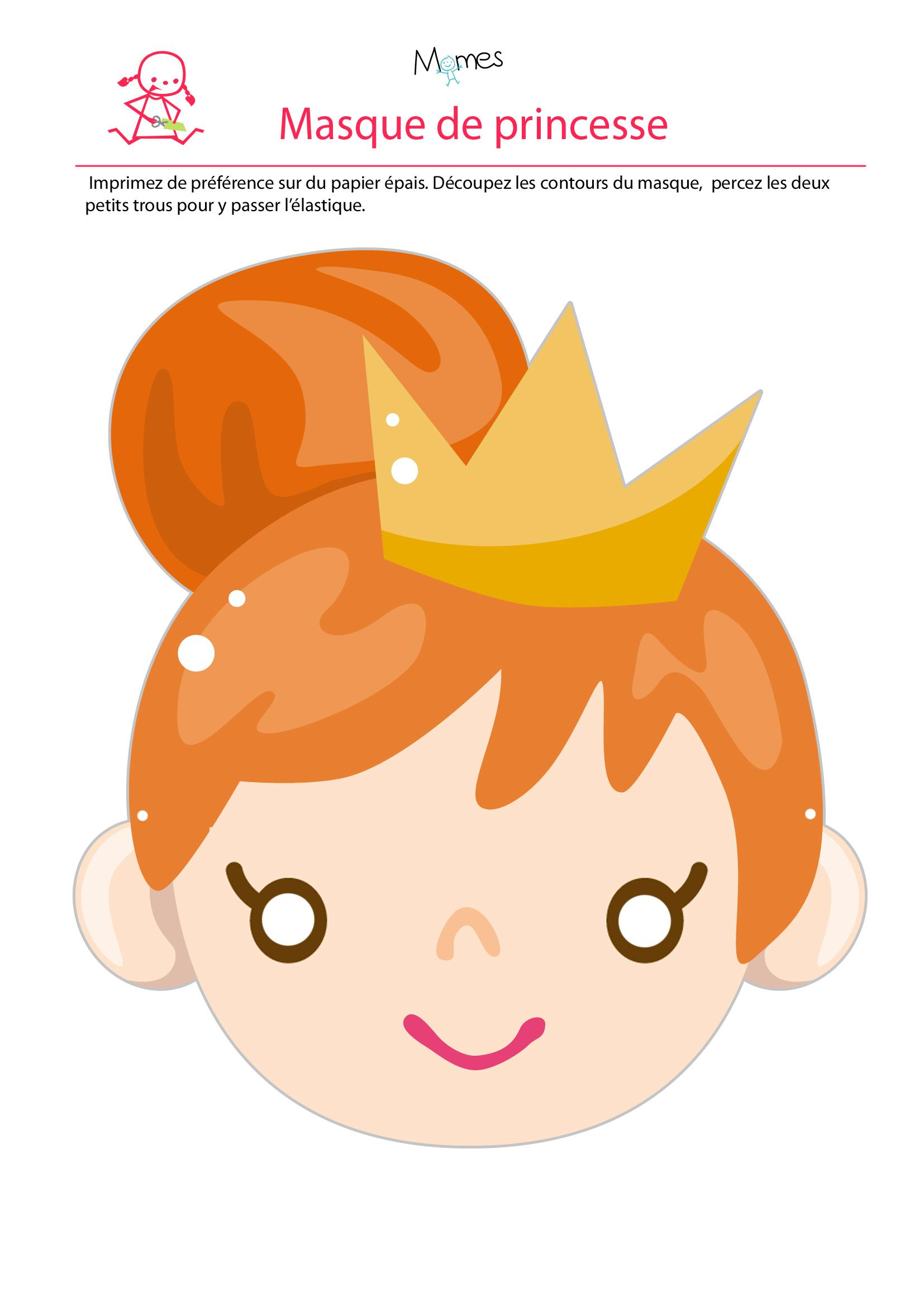 Masque de princesse à imprimer
