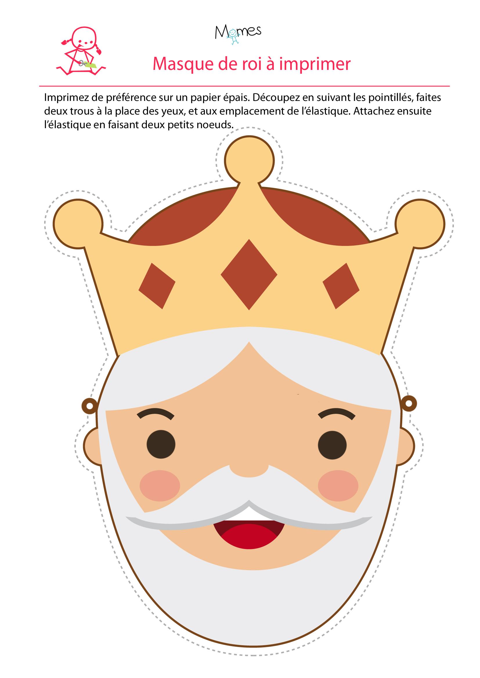 masque de roi à imprimer