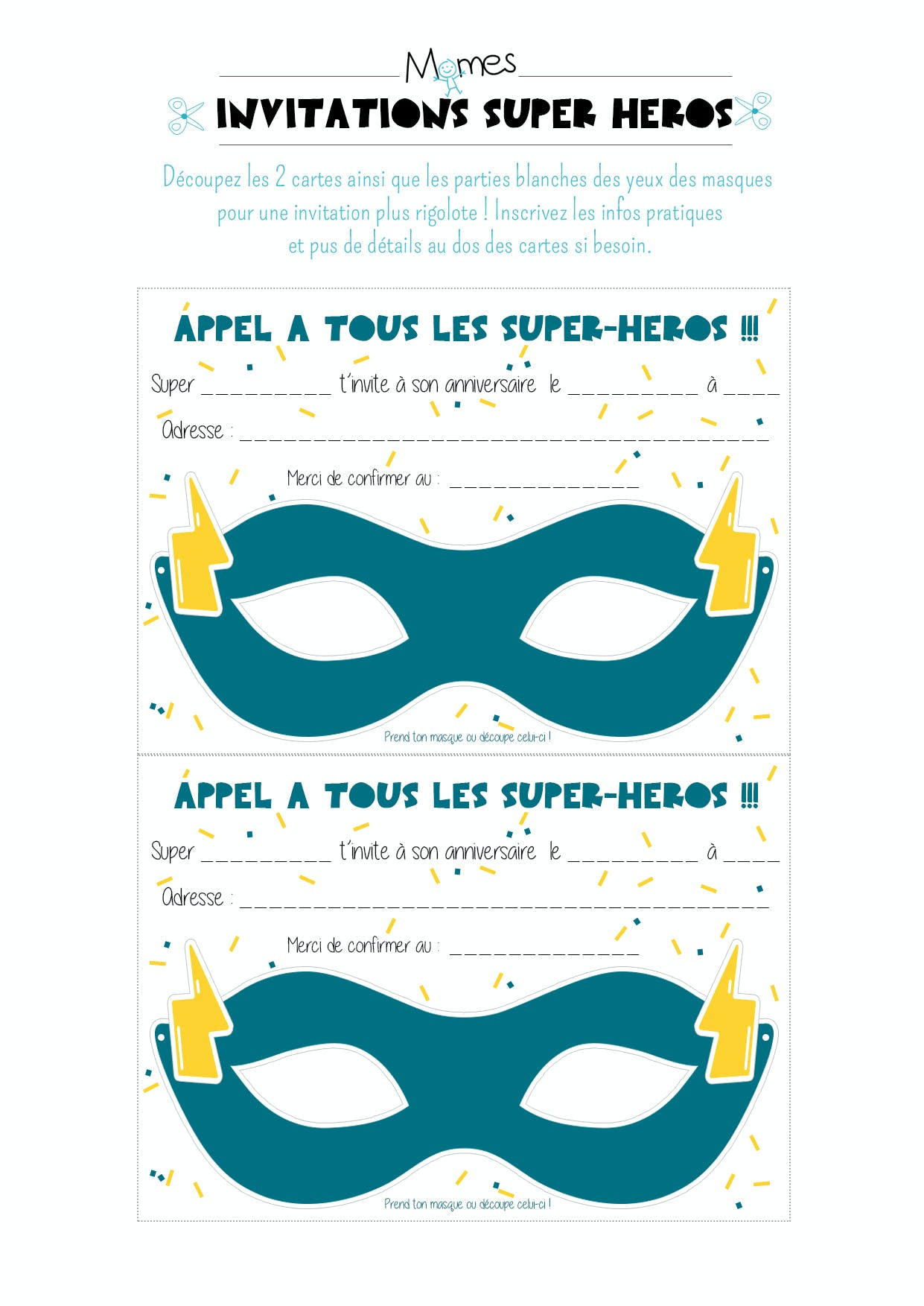 Fabulous Masques invitations anniversaire Super Héros - Momes.net KR02