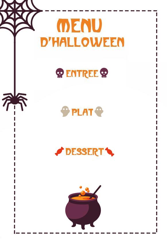 Menu Halloween à imprimer