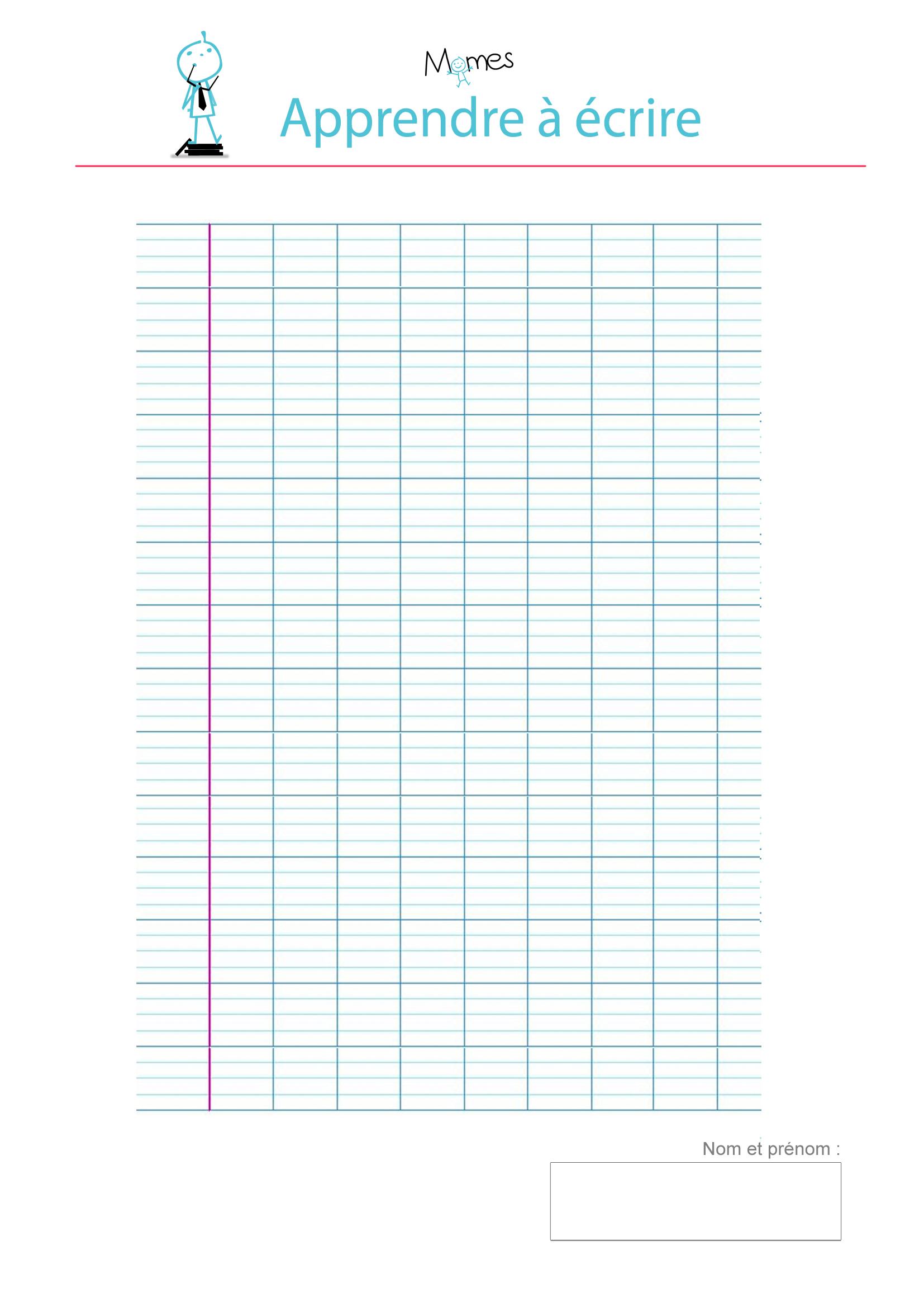 Modèle de lignes cursives vierge à imprimer