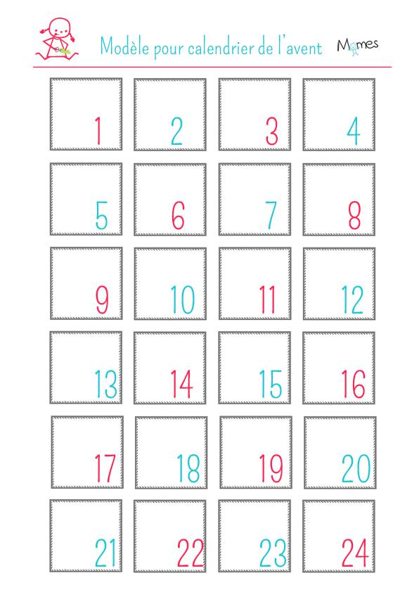 modèle calendrier avent à imprimer