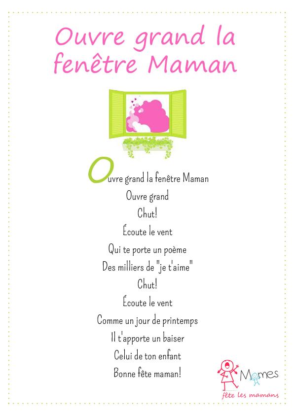 poème fête des mères Ouvre grand la fenêtre Maman