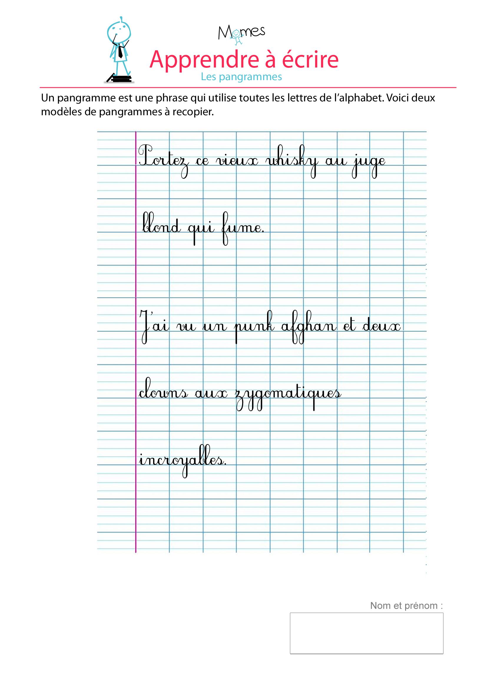 Souvent Pangrammes - exercice de modèle d'écriture - Momes.net AN32