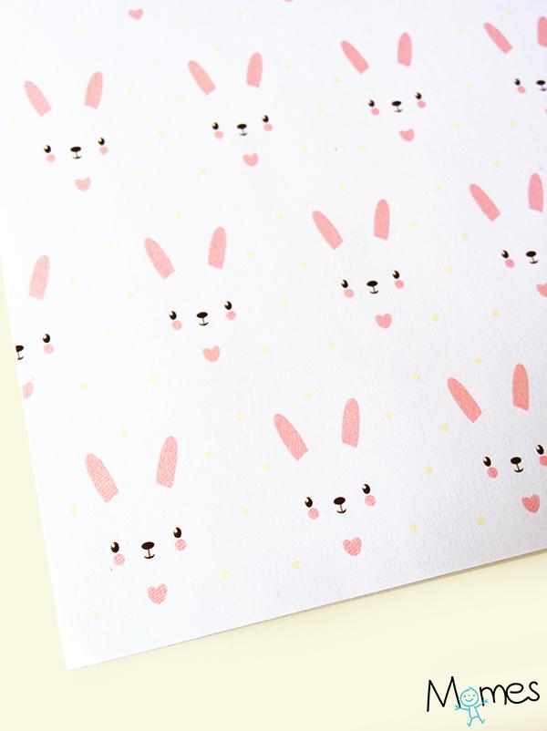 Papier à motif lapins roses à imprimer