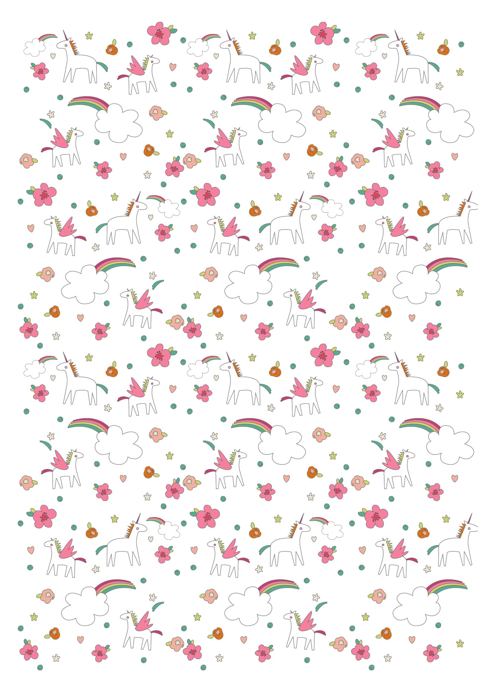 Extrêmement Papier à motifs licornes à imprimer - Momes.net GV19