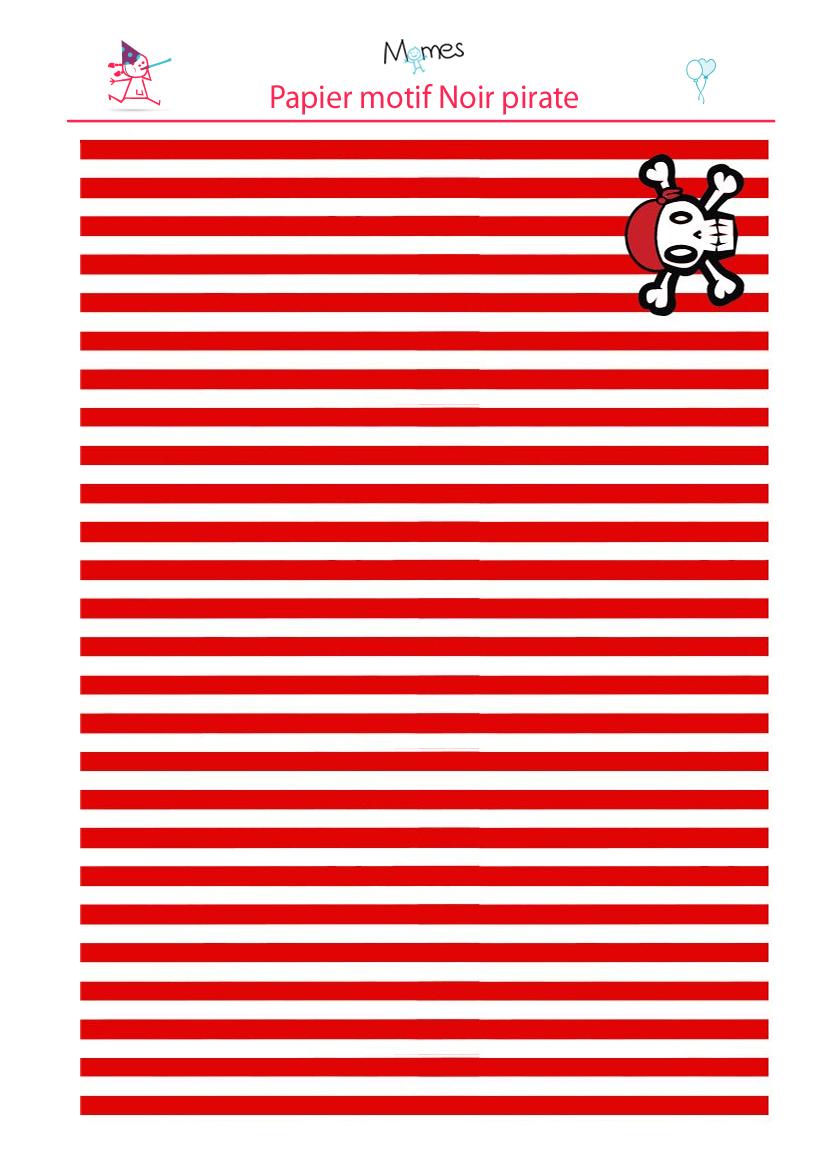 Papier de pirate imprimer rouge - Voile bateau pirate ...