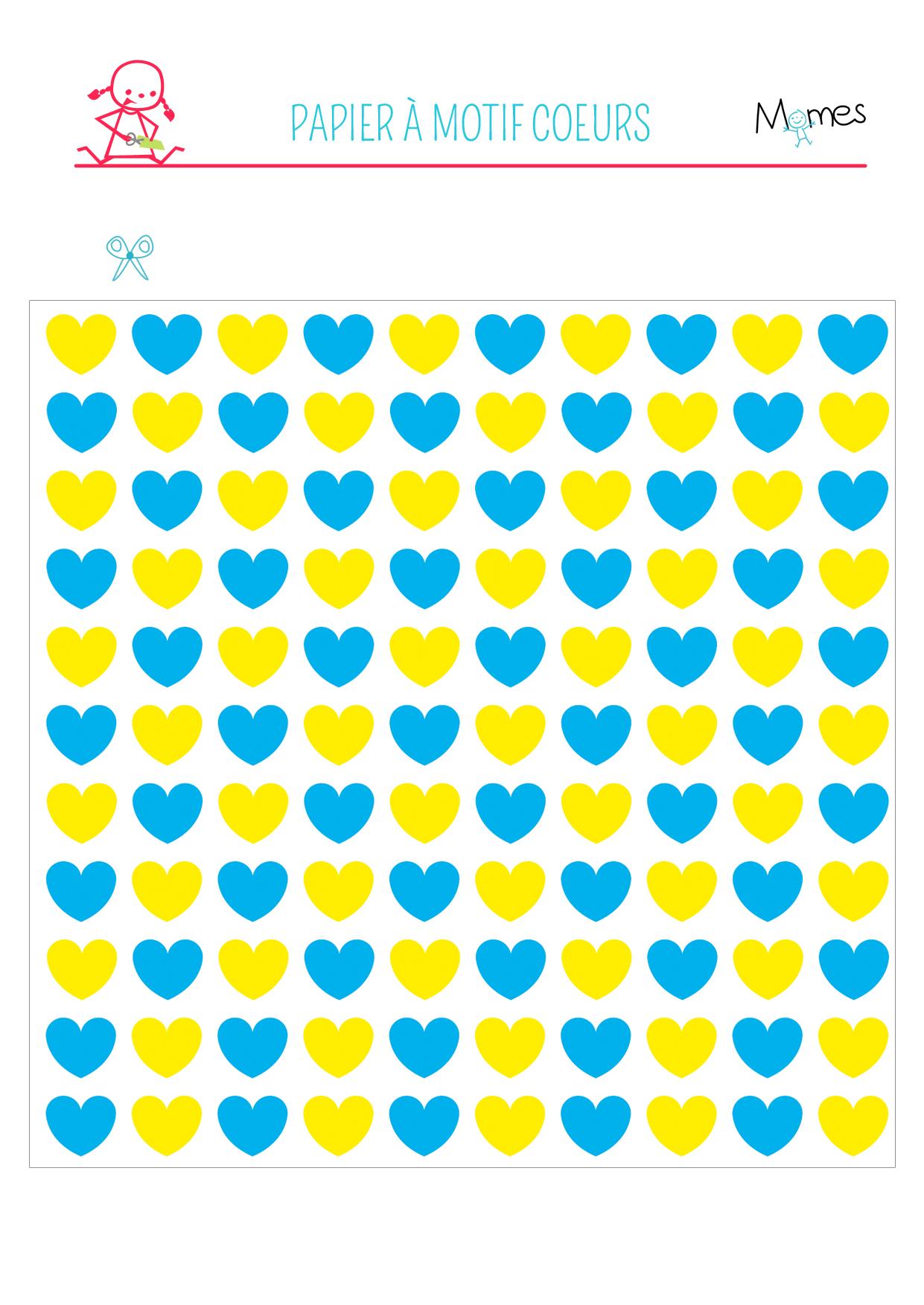 Papier motif coeurs à imprimer