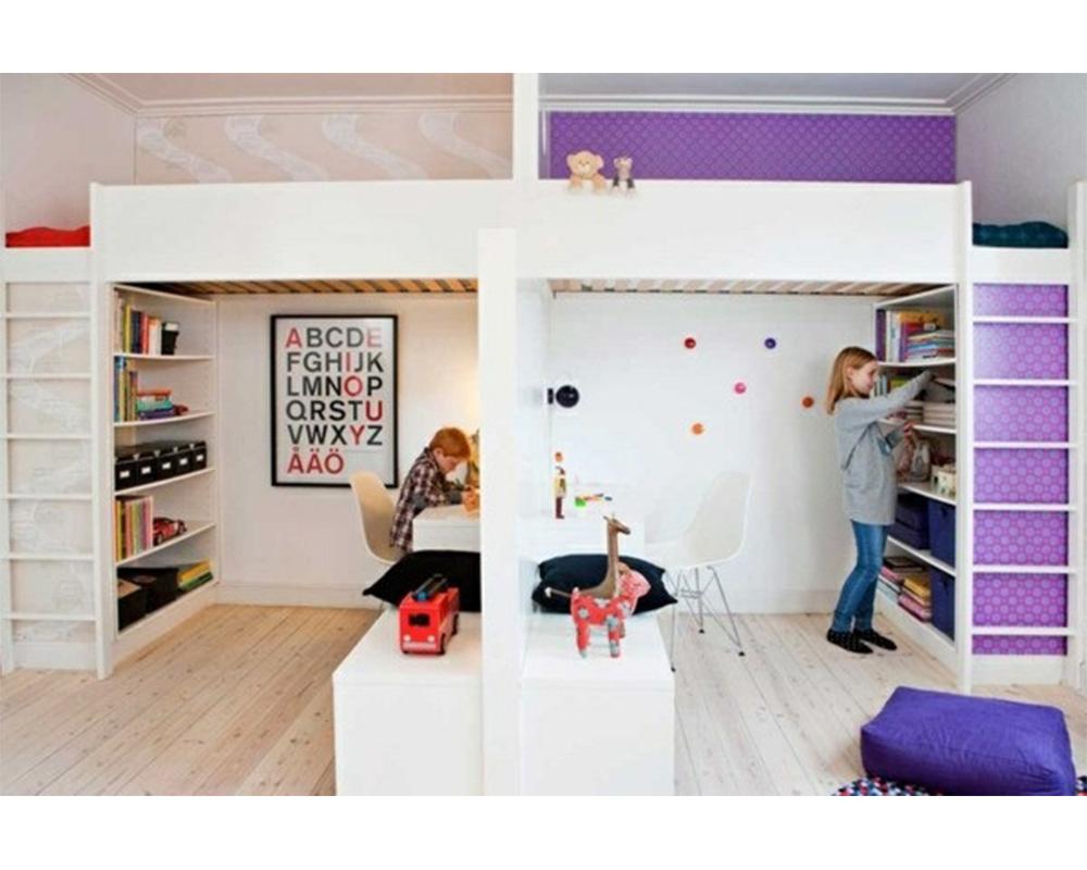 séparation chambre pour 2 enfants lits mezzanines