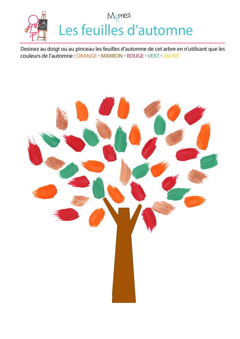 Peinture au doigt : les feuilles d'automnes