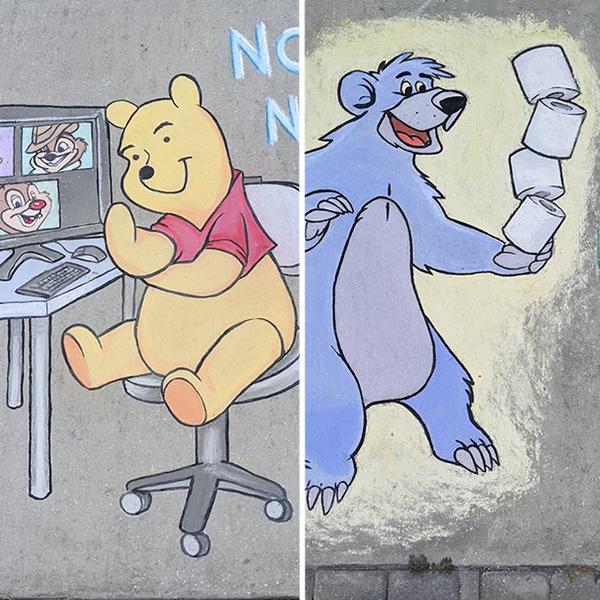 Pendant le confinement, elle dessine sur son trottoir des personnages de la pop culture à la craie