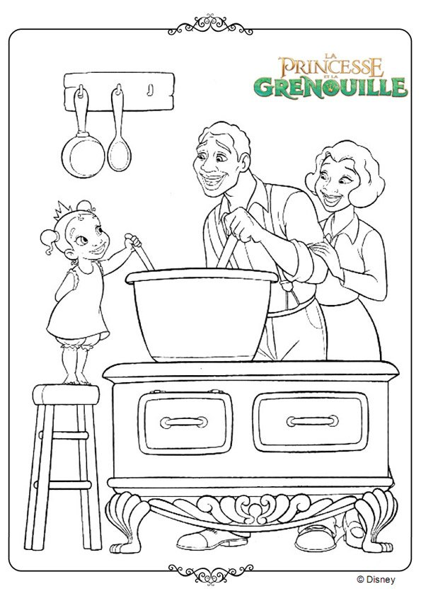Petite tiana cuisine - Coloriage la princesse et la grenouille ...