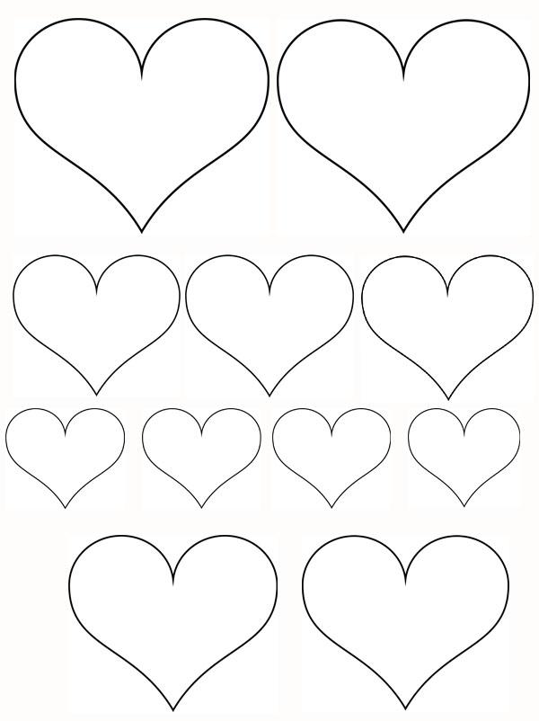 petits coeurs et gros coeurs à imprimer