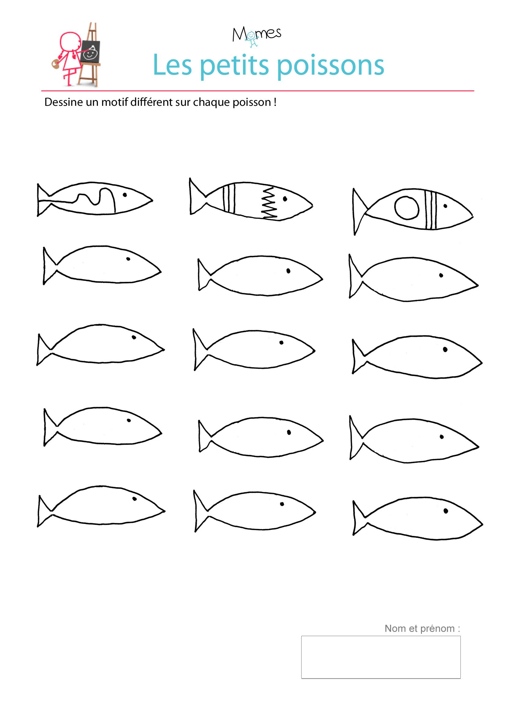 Petits poissons à colorier
