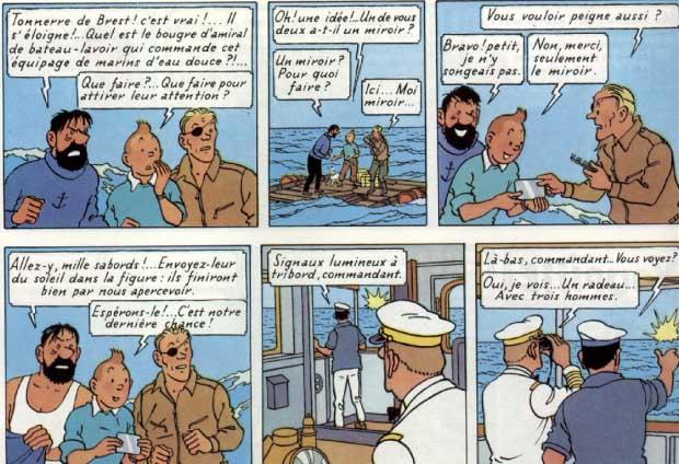 planche de Tintin (extrait de Coke en stock)