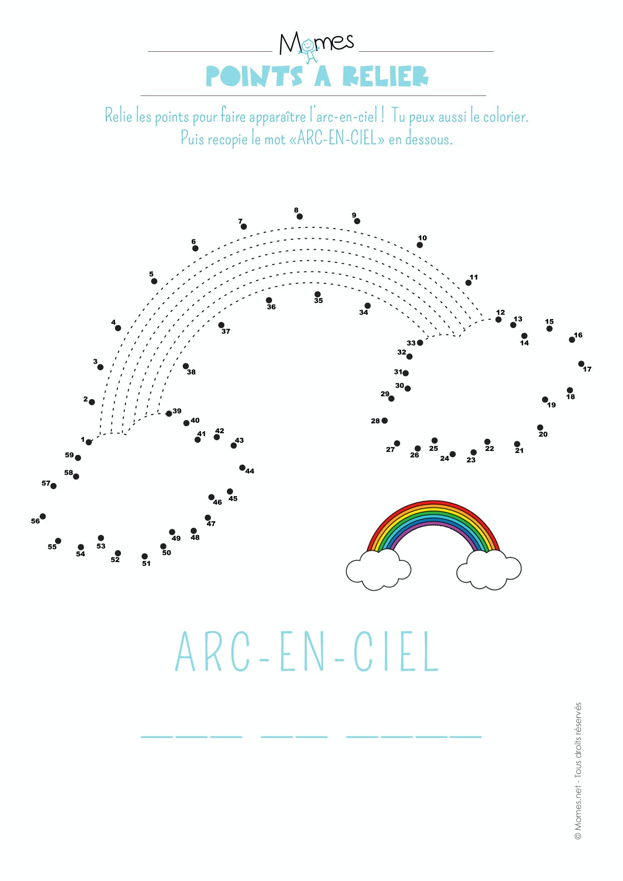 Points à relier de l'arc-en-ciel