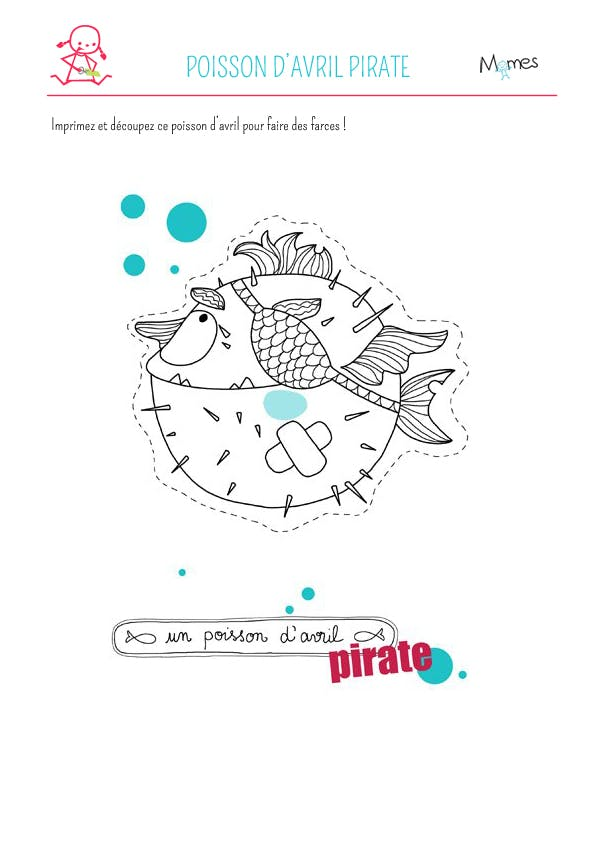 Poisson d'avril Pirate à imprimer