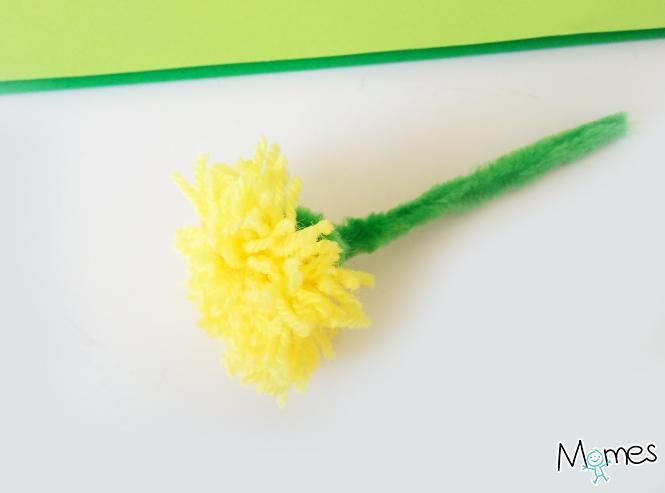 Fleurs en laine pissenlit et marguerite - Pompon en laine forme coeur ...