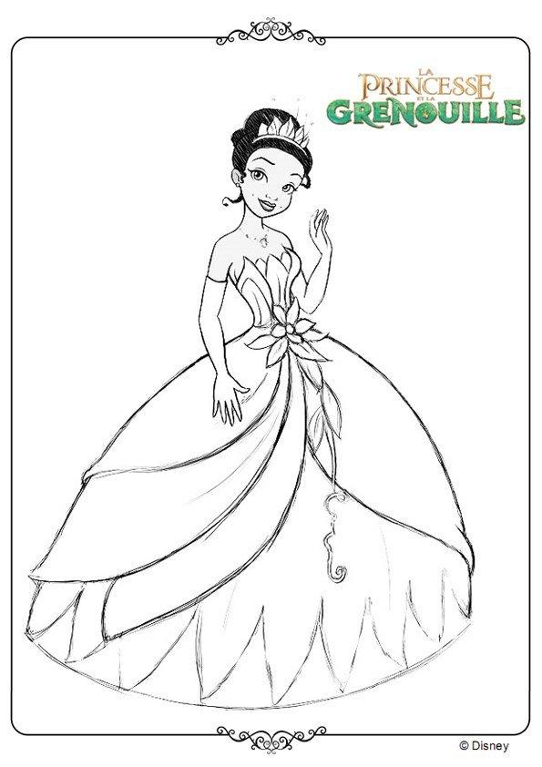 Princesse tiana - Coloriage de grenouille ...