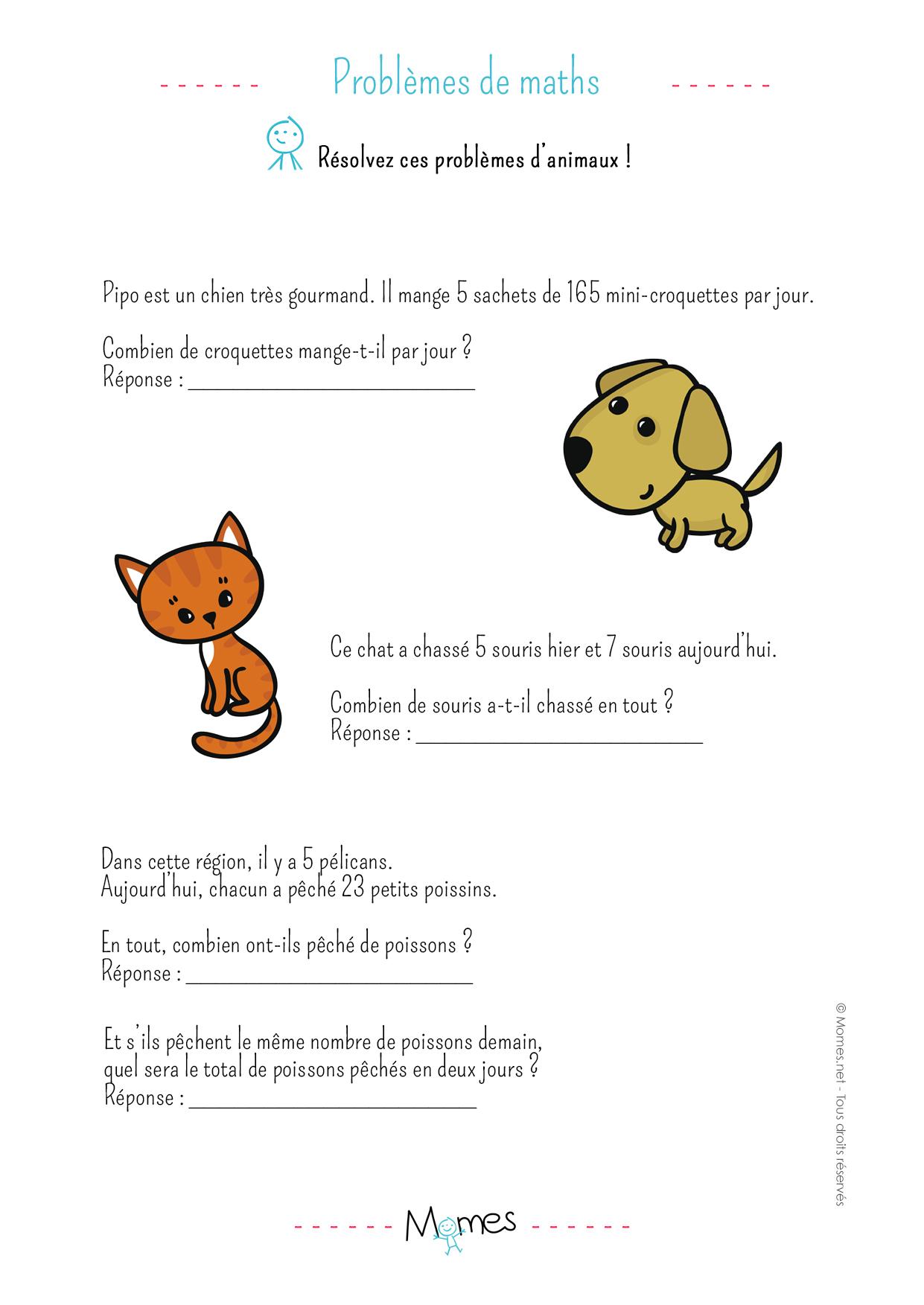 Problèmes des animaux: exercice