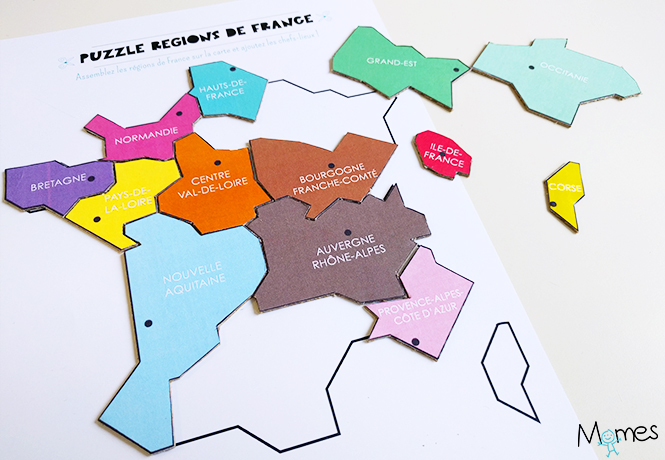 carte des r gions de france imprimer en puzzle. Black Bedroom Furniture Sets. Home Design Ideas