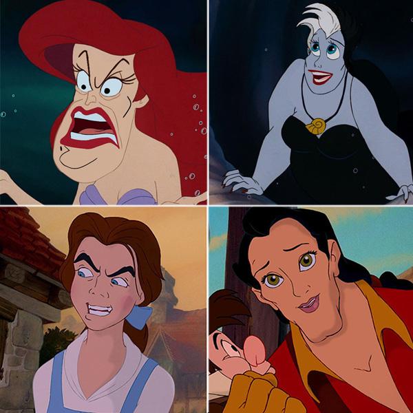 échange visages Disney gentils méchants swaps