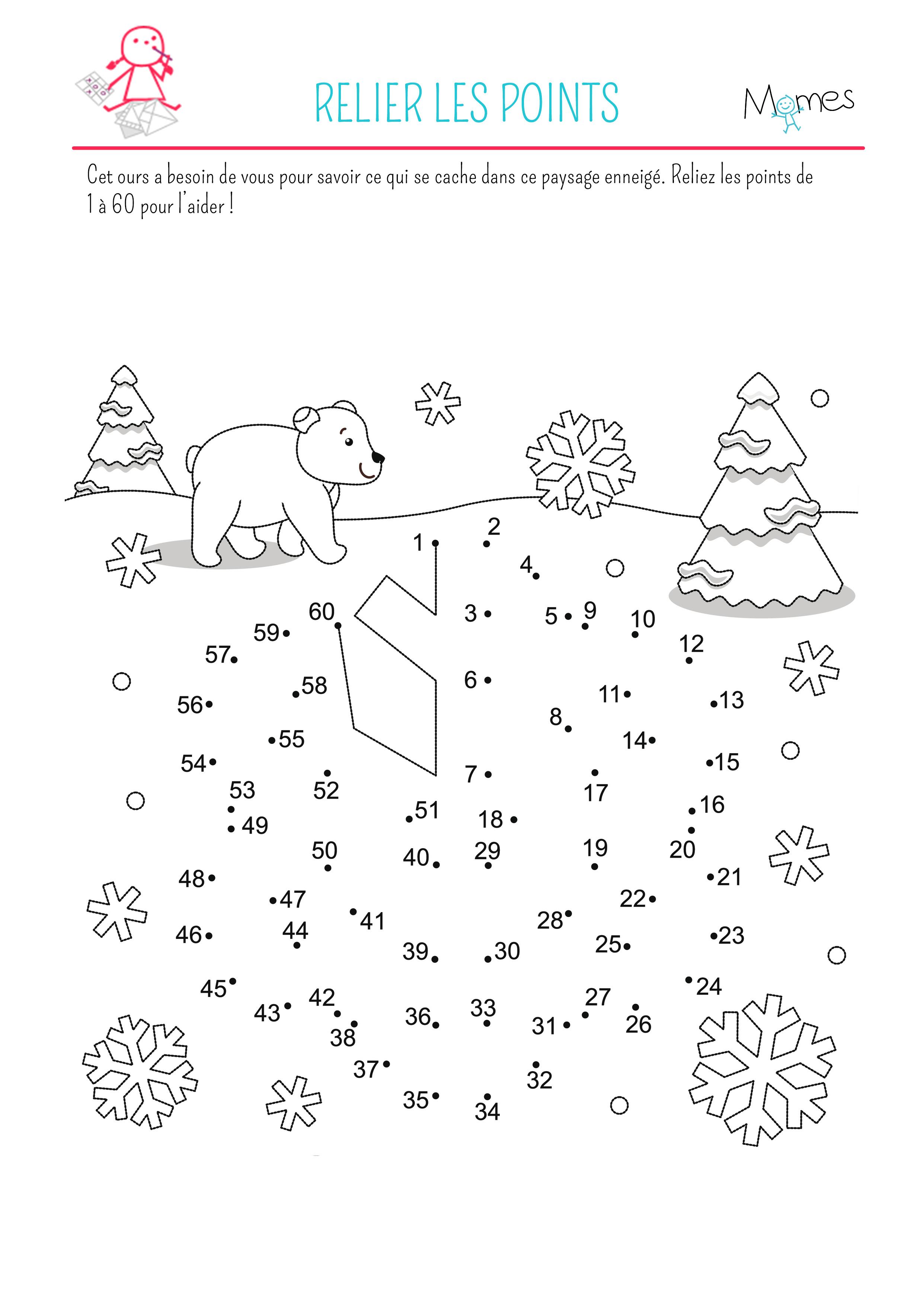 Relier les points la neige - Jeux a relier ...
