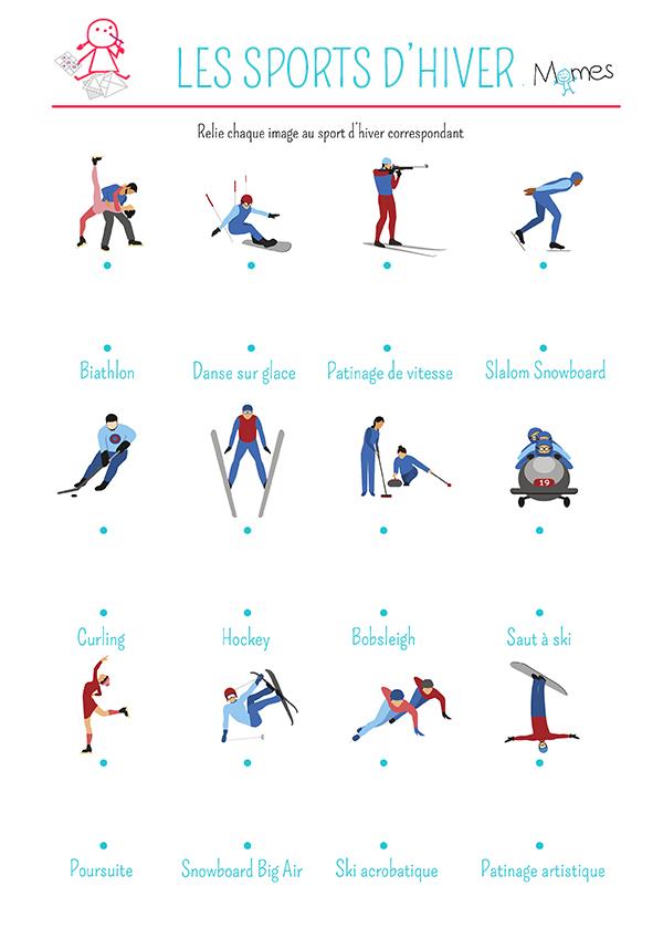 Relier les points les sports d 39 hiver - Jeux a relier ...