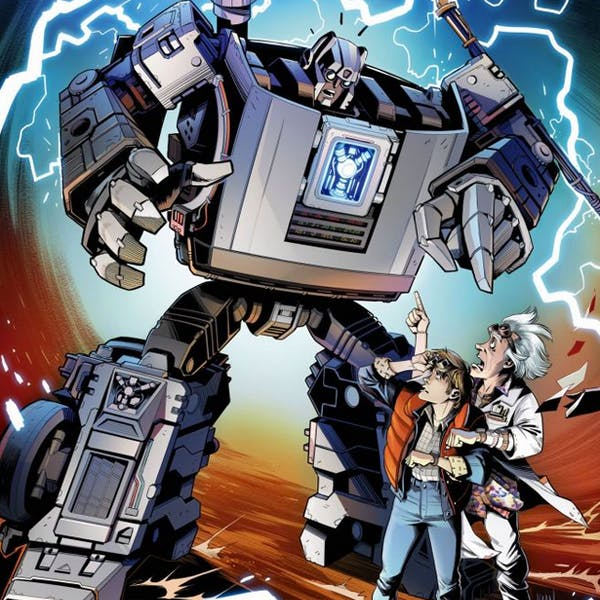 Retour vers le futur et Transformers Crossover bande dessinée autobot Gigawatt figurine hasbro