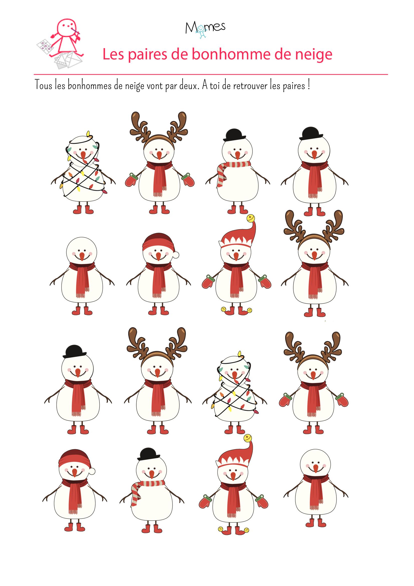 jeu paire bonhomme de neige à imprimer