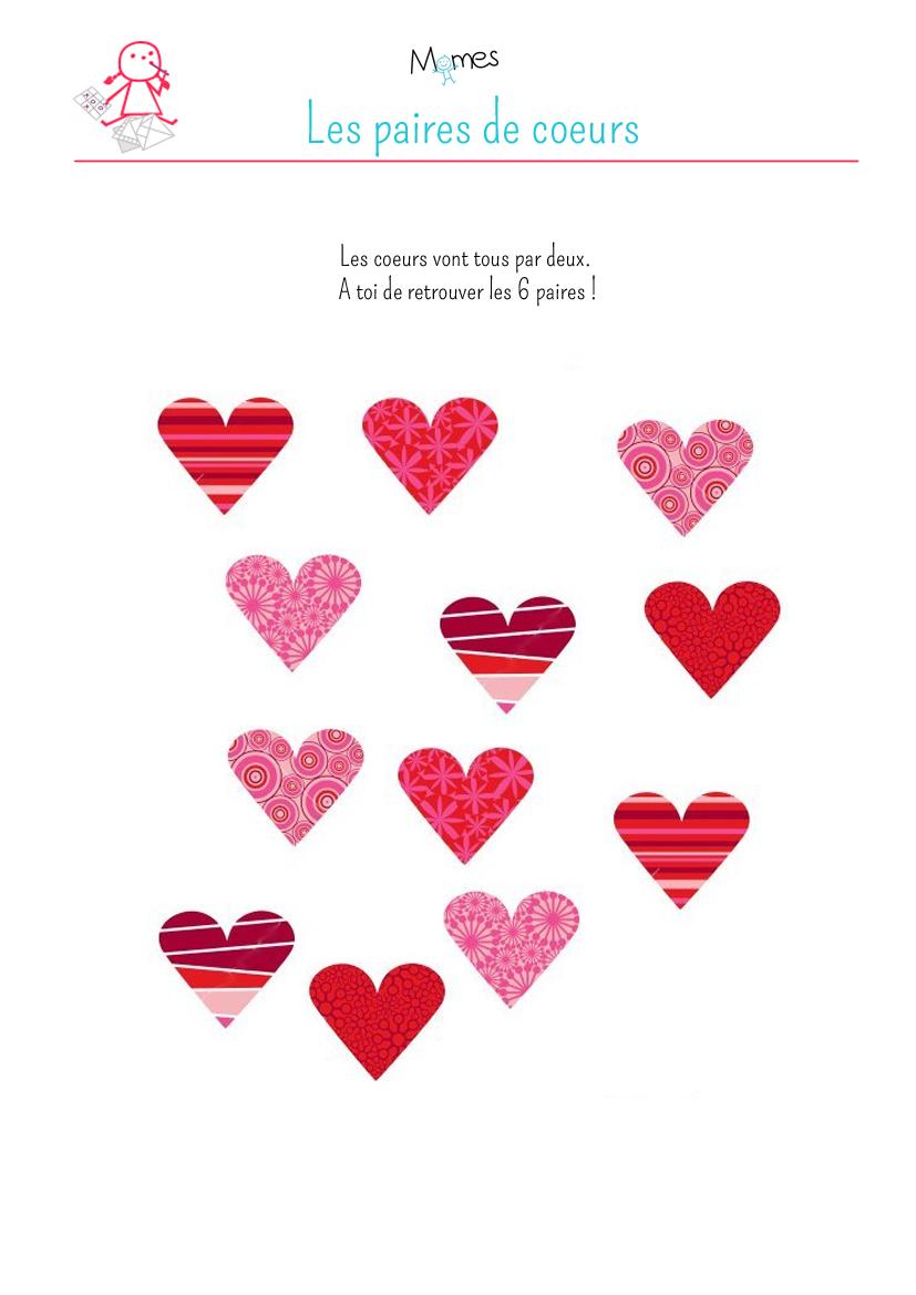 Retrouve les paires de coeurs à imprimer