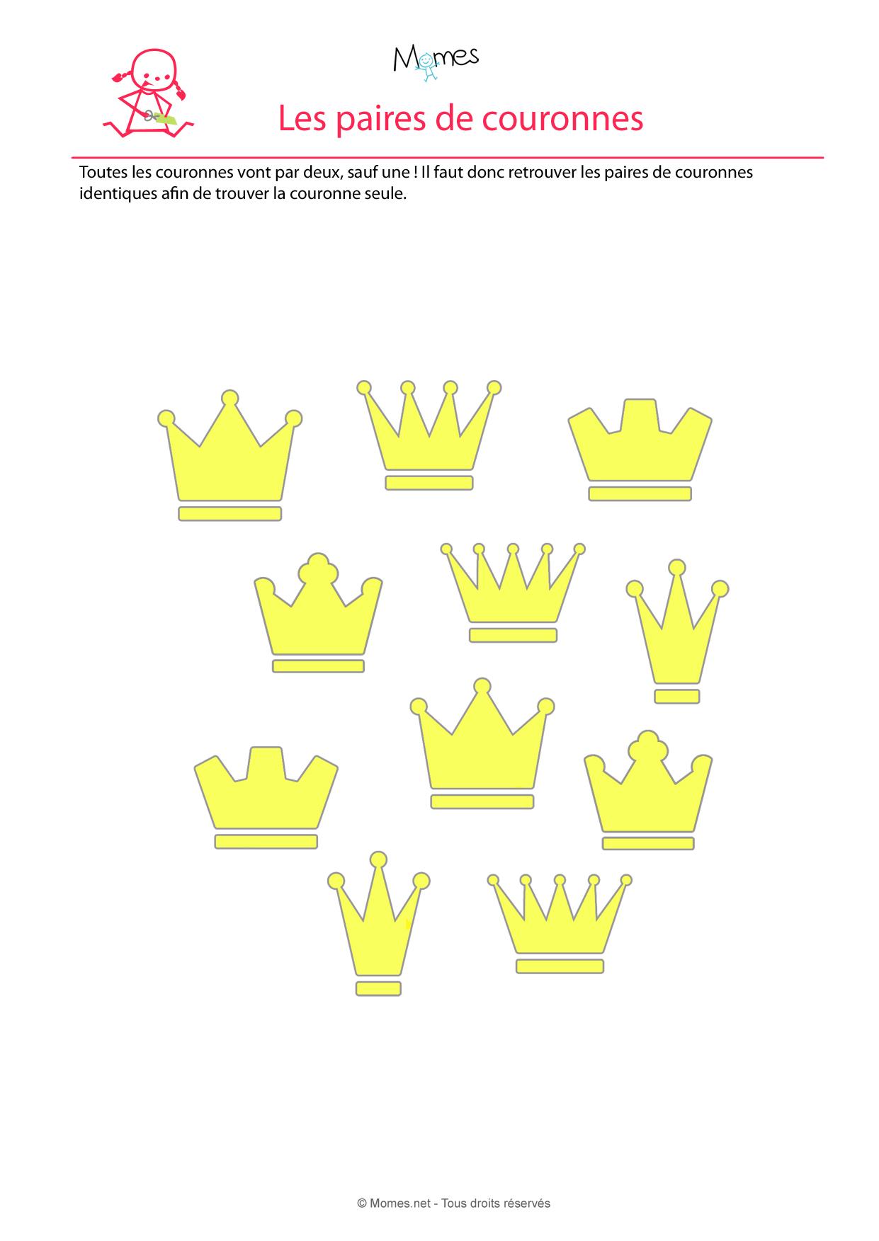 Retrouve les paires de couronnes à imprimer