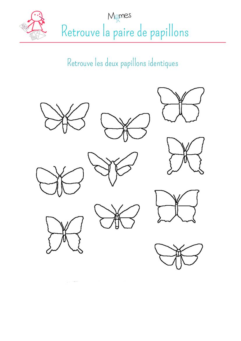 Retrouve les papillons identiques