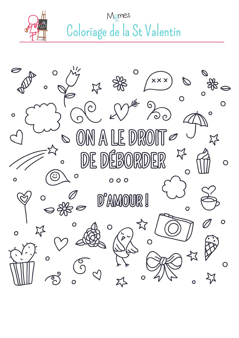 Coloriage A Imprimer Amour.Saint Valentin On A Le Droit De Deborder D Amour