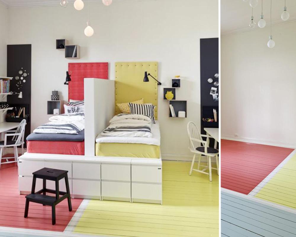 séparation chambre 2 enfants avec la couleur