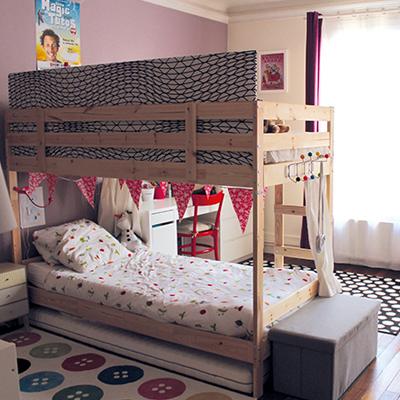 Séparer une chambre pour 2 enfants avec un lit superposé