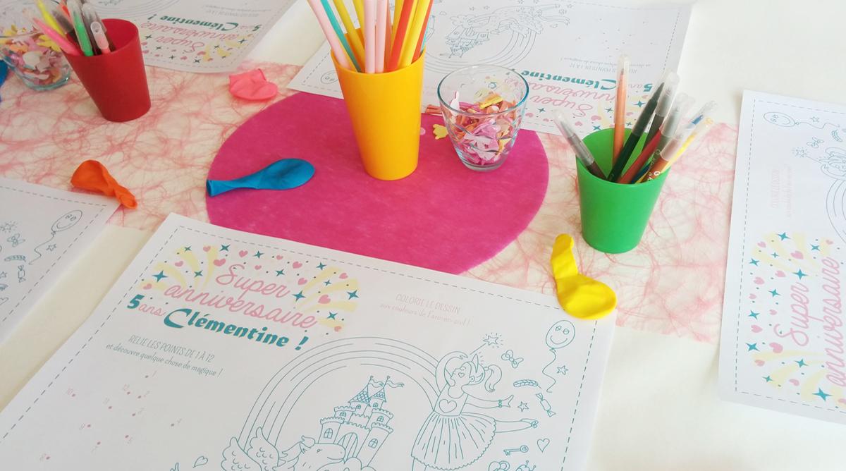 Coloriage Table Princesse.Set De Table A Colorier Anniversaire Princesse Fee Momes Net