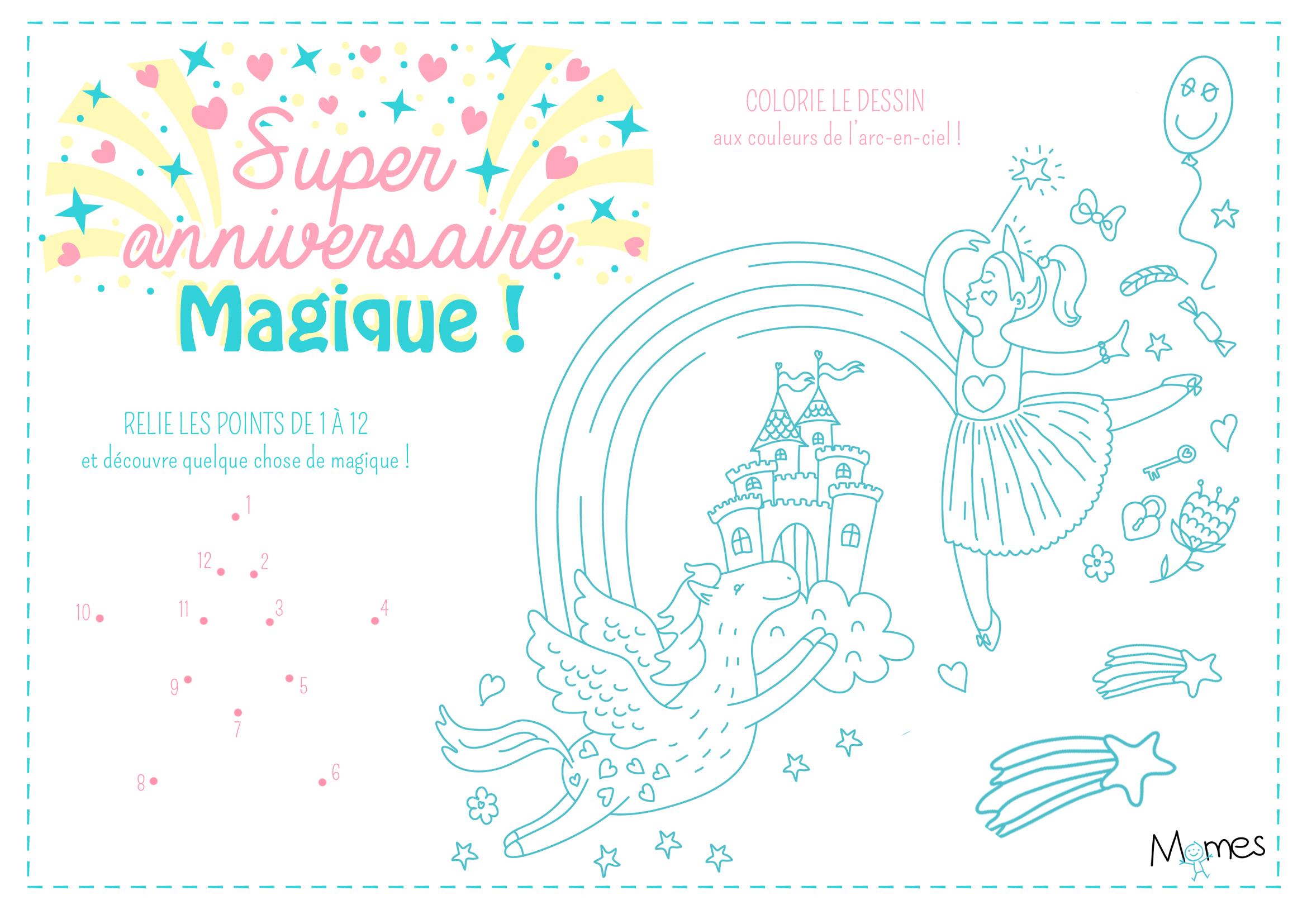 Connu Set de table à colorier anniversaire Princesse - Fée - Momes.net RE22