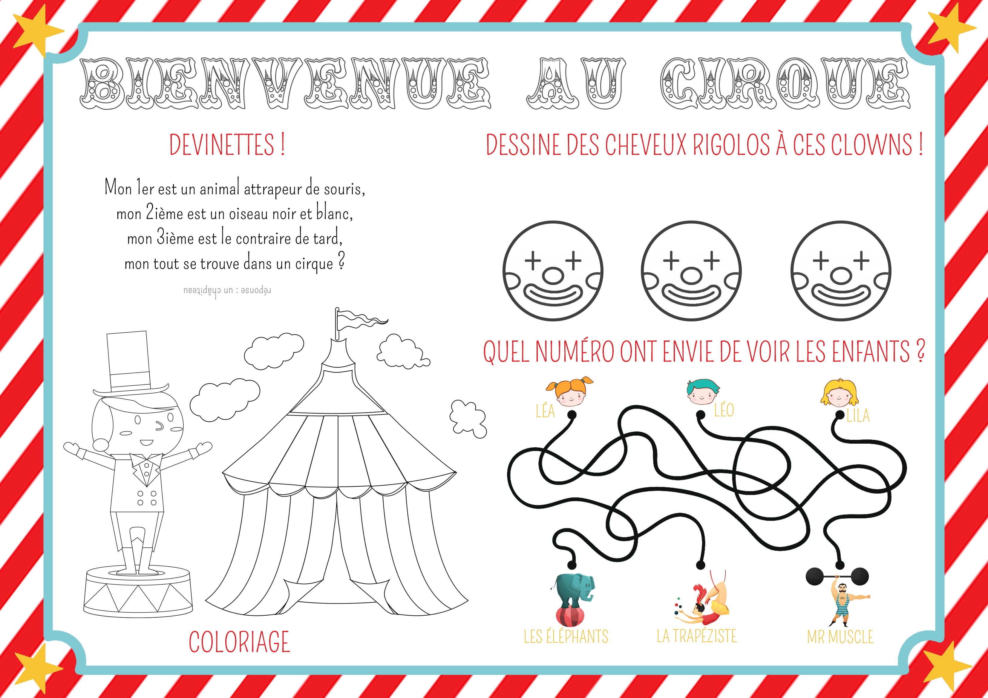 set de table à colorier cirque