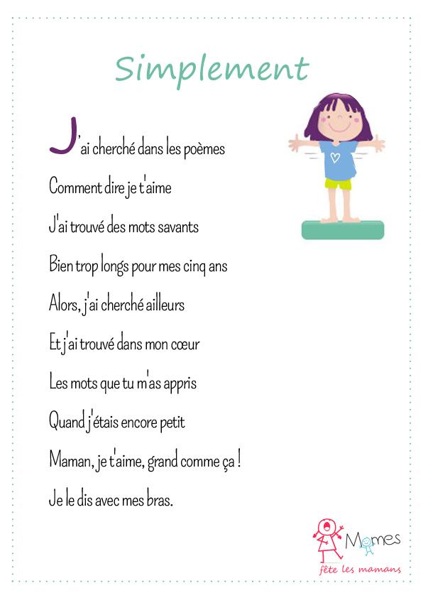 poème fête des mères Simplement
