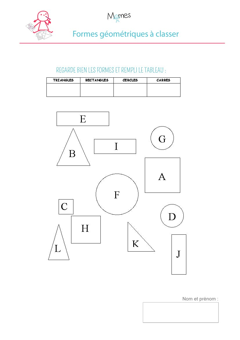 exercice forme geometrique a classer