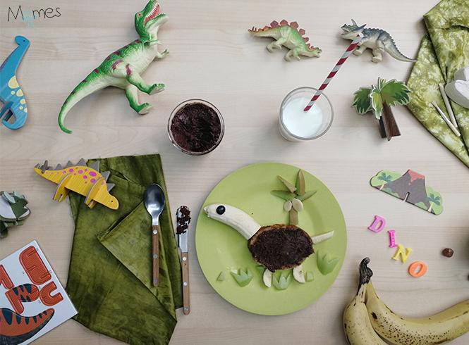 Tartine dinosaure pâte à tartiner