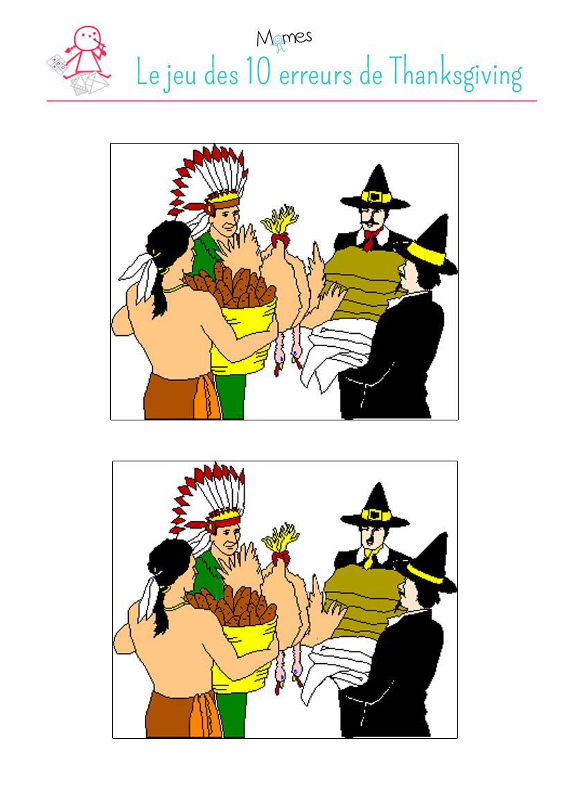 Thanksgiving : jeu des 10 erreurs
