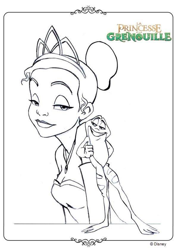 Tiana et la grenouille - Coloriage la princesse et la grenouille ...