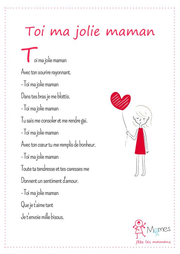 poème fête des mères Toi ma jolie maman