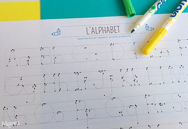 lettres en pointillés à imprimer