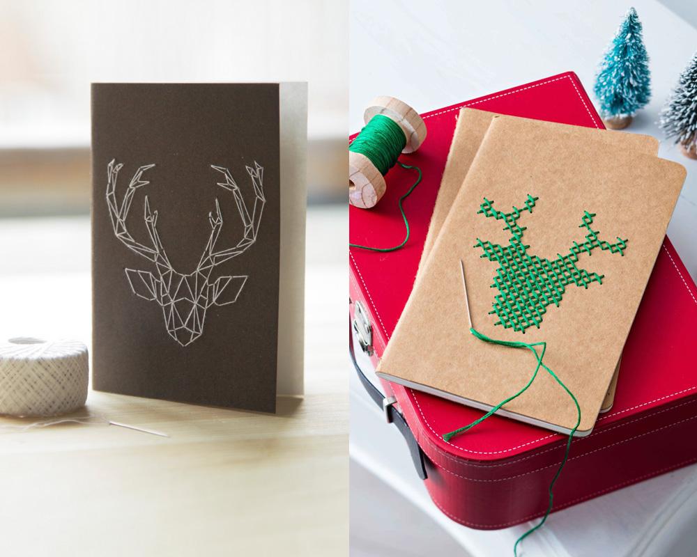 idées cadeaux Noël DIY bricolages faire soi-même un carnet brodé