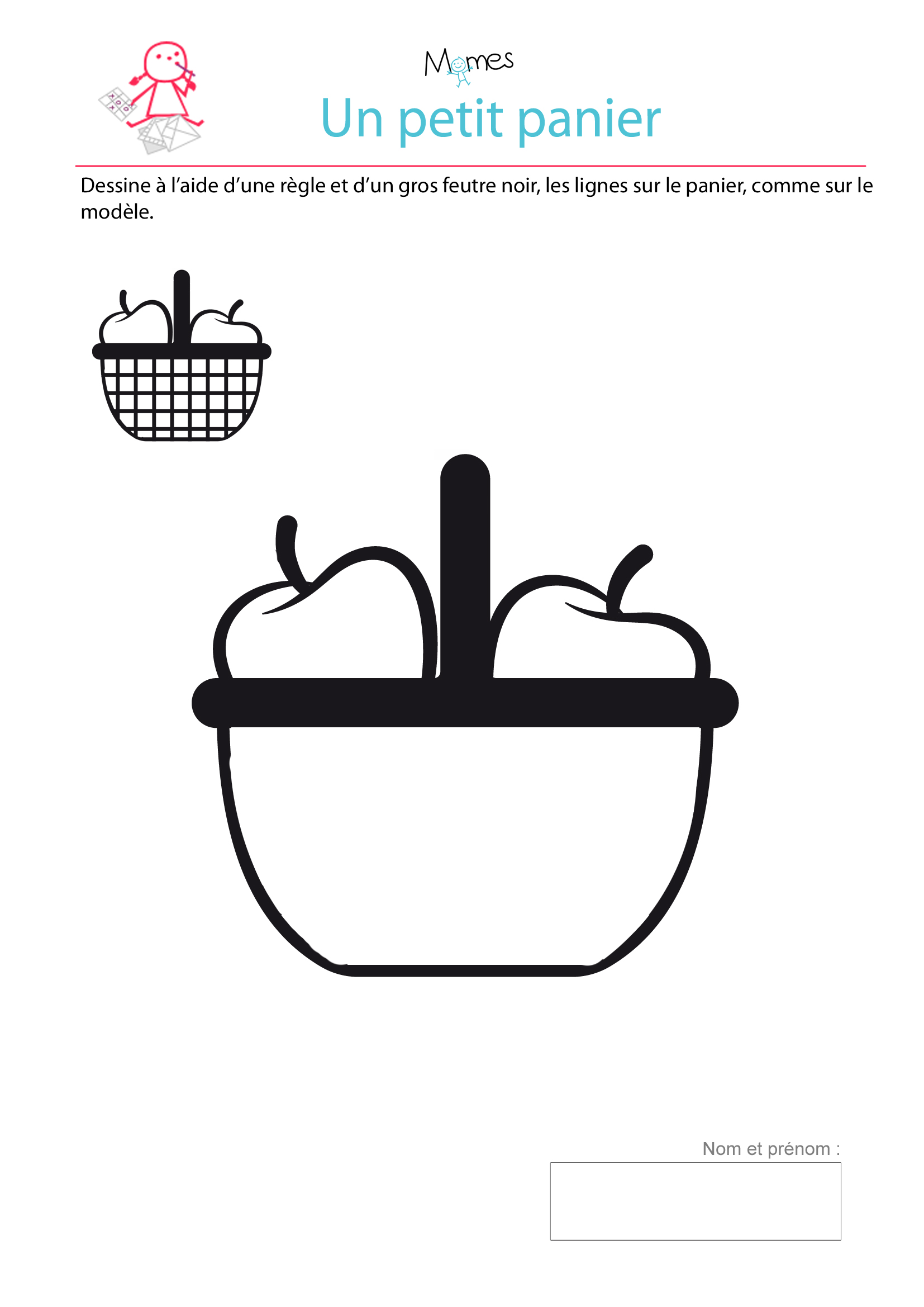 Panier à Tisser Maternelle : Un petit panier exercice de trac? lignes droites