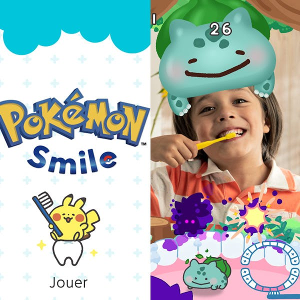application pokémon smile brossage dents enfants